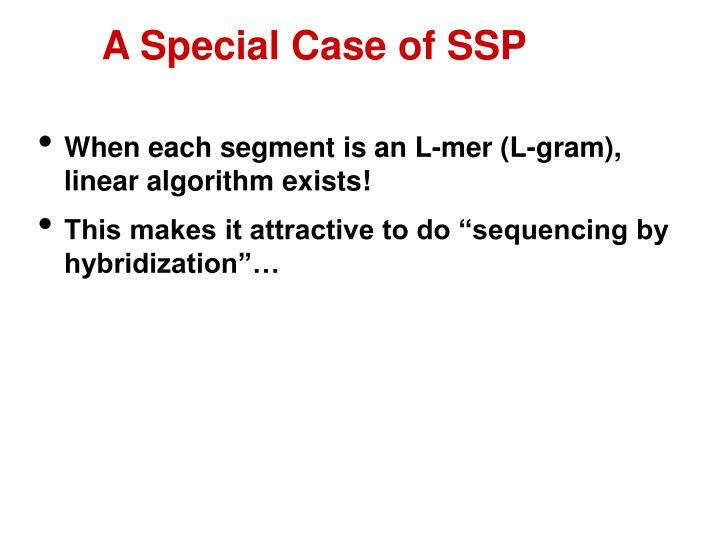 A Special Case of SSP