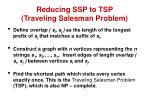 reducing ssp to tsp traveling salesman problem