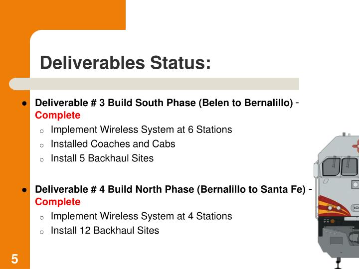 Deliverable # 3 Build South Phase (Belen to Bernalillo)