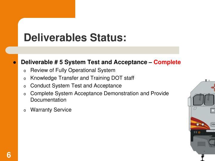 Deliverables Status: