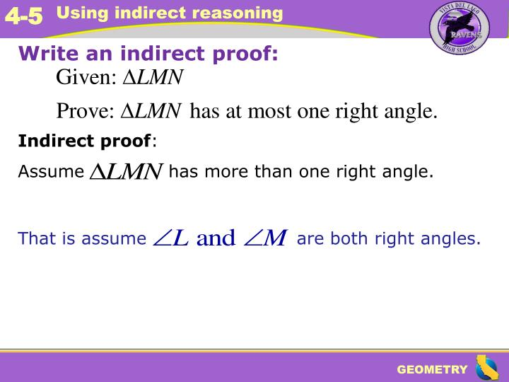 Write an indirect proof: