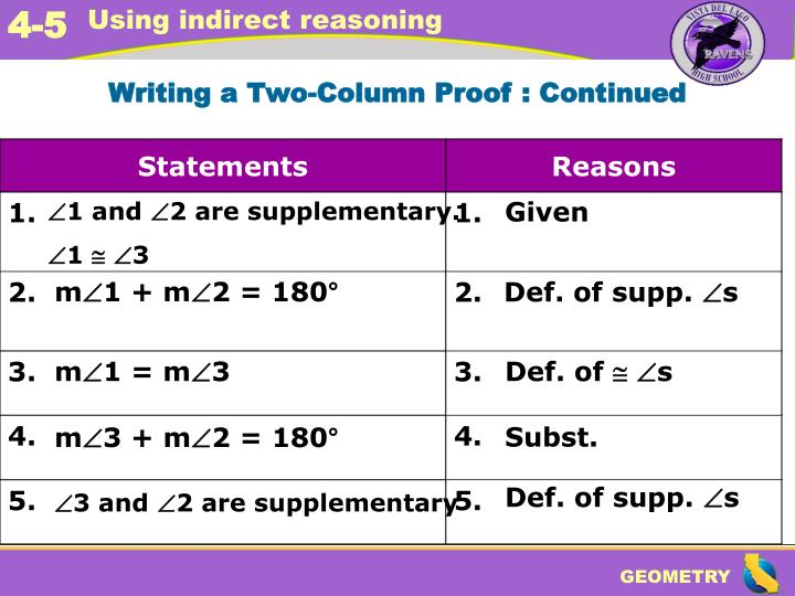 Writing a Two-Column Proof : Continued