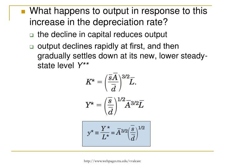 What happens to output in response to this increase in the depreciation rate?