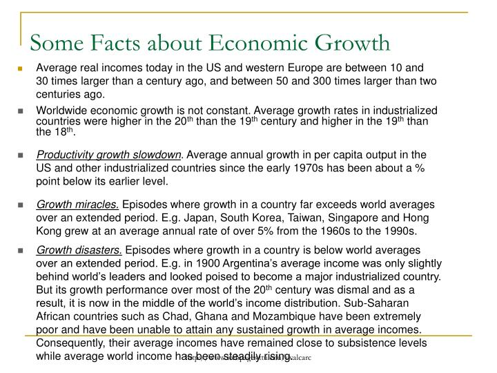 Some Facts about Economic Growth