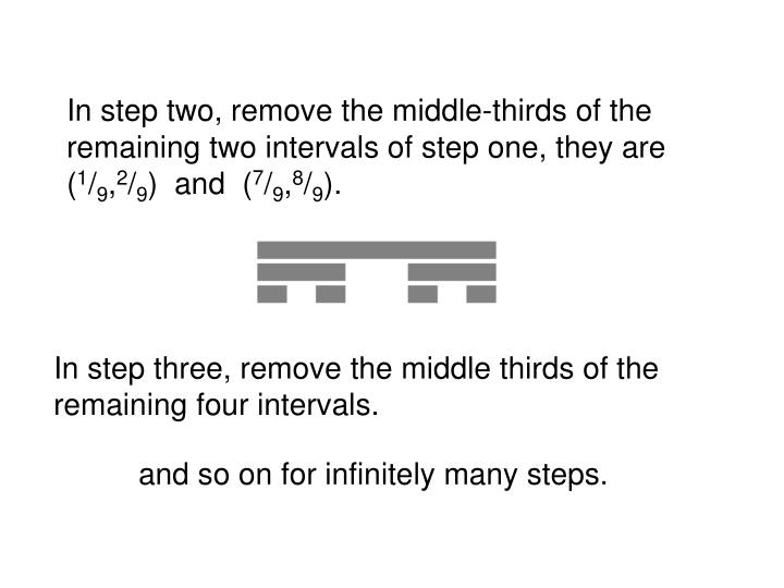 In step two, remove the middle-thirds of the