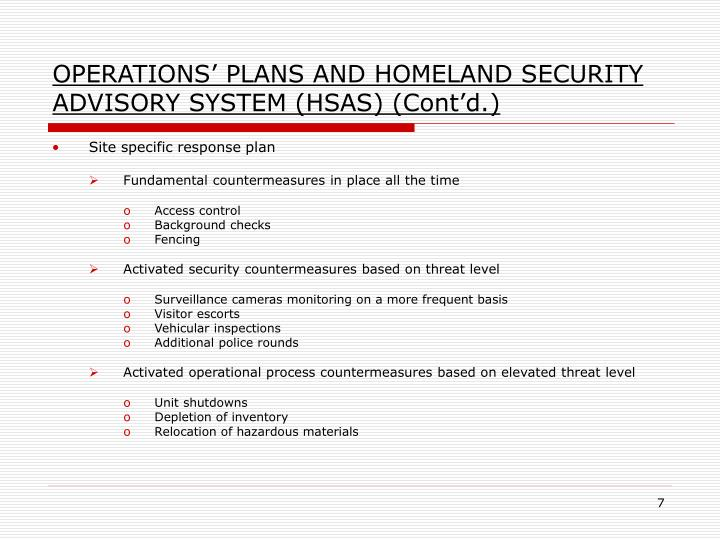OPERATIONS' PLANS AND HOMELAND SECURITY ADVISORY SYSTEM (HSAS) (Cont'd.)