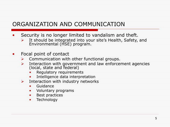 ORGANIZATION AND COMMUNICATION