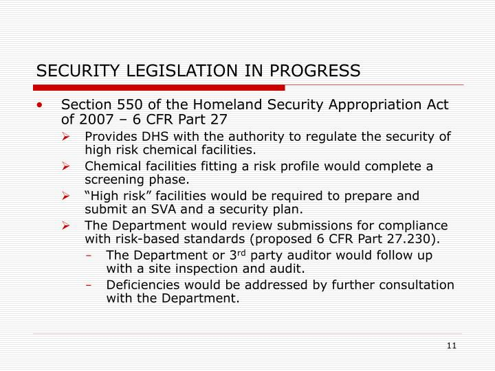 SECURITY LEGISLATION IN PROGRESS
