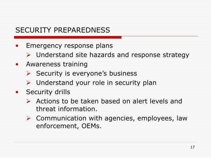 SECURITY PREPAREDNESS