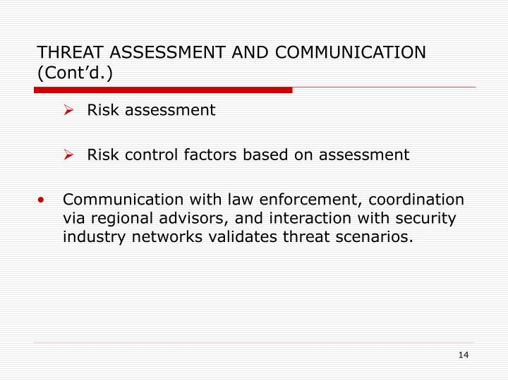 THREAT ASSESSMENT AND COMMUNICATION (Cont'd.)