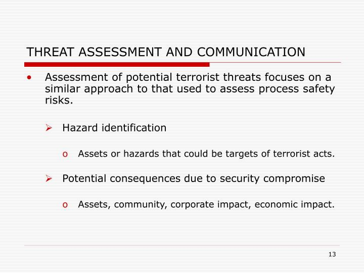 THREAT ASSESSMENT AND COMMUNICATION