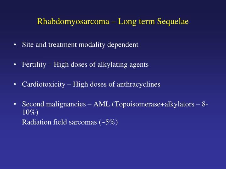 Rhabdomyosarcoma – Long term Sequelae