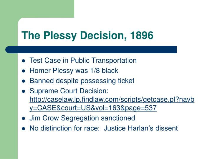 The Plessy Decision, 1896