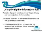 using the right to information rti