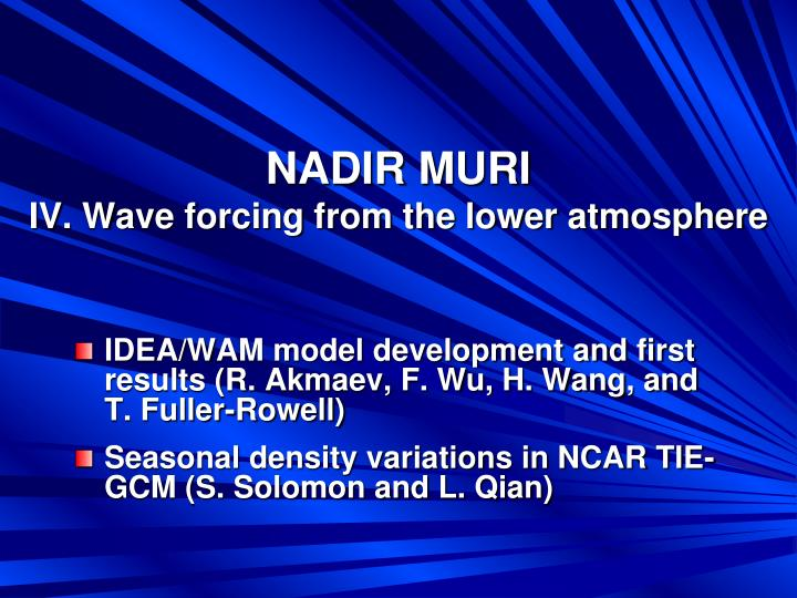 nadir muri iv wave forcing from the lower atmosphere