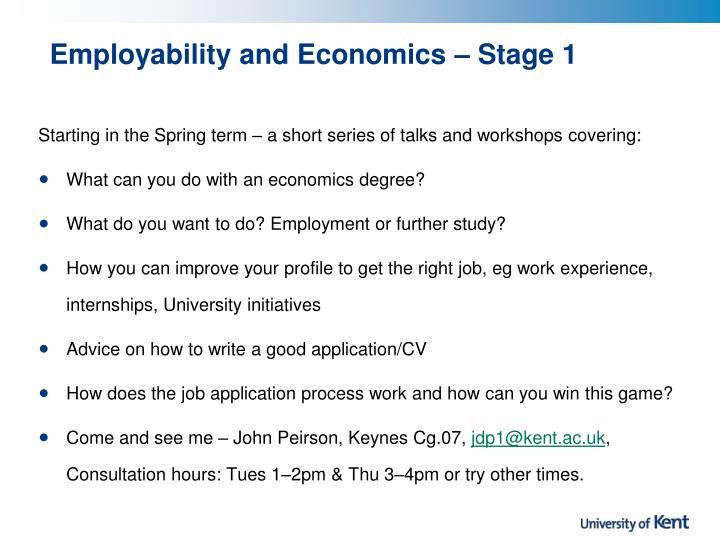 Employability and Economics – Stage 1