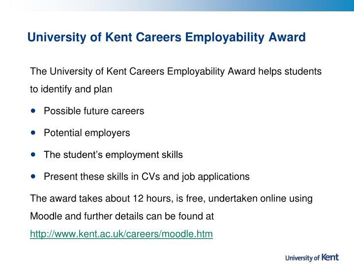 University of Kent Careers Employability Award