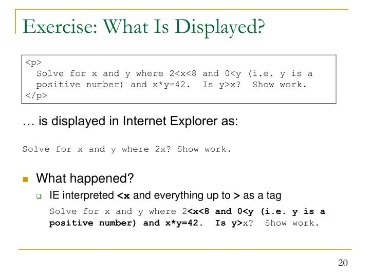 Exercise: What Is Displayed?