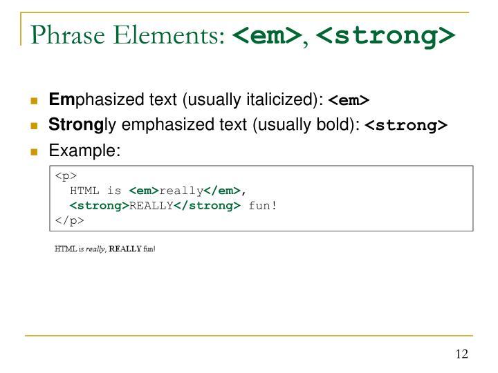 Phrase Elements: