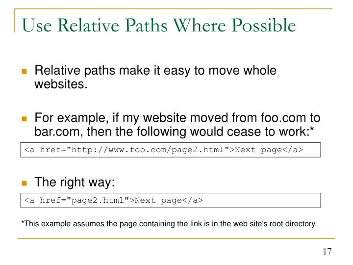 Use Relative Paths Where Possible