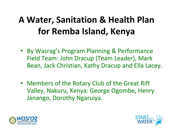 A Water, Sanitation & Health Plan for Remba Island, Kenya
