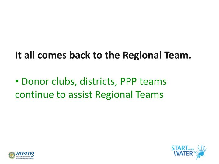 It all comes back to the Regional Team.