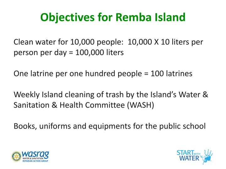 Objectives for Remba Island