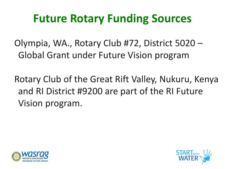 Future Rotary Funding Sources