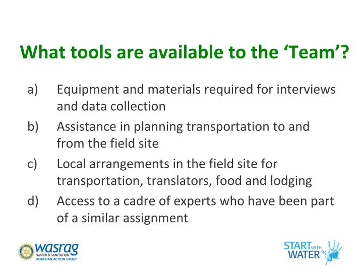 What tools are available to the 'Team'?