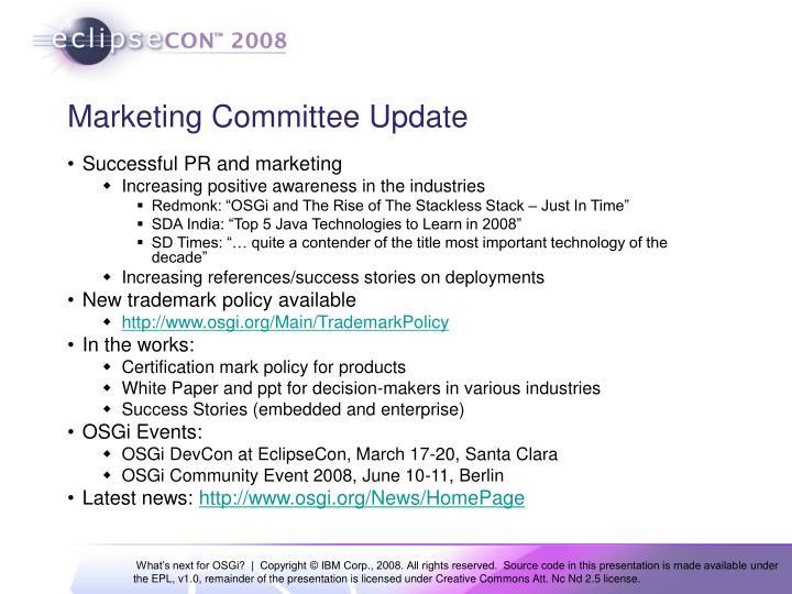 Marketing Committee Update