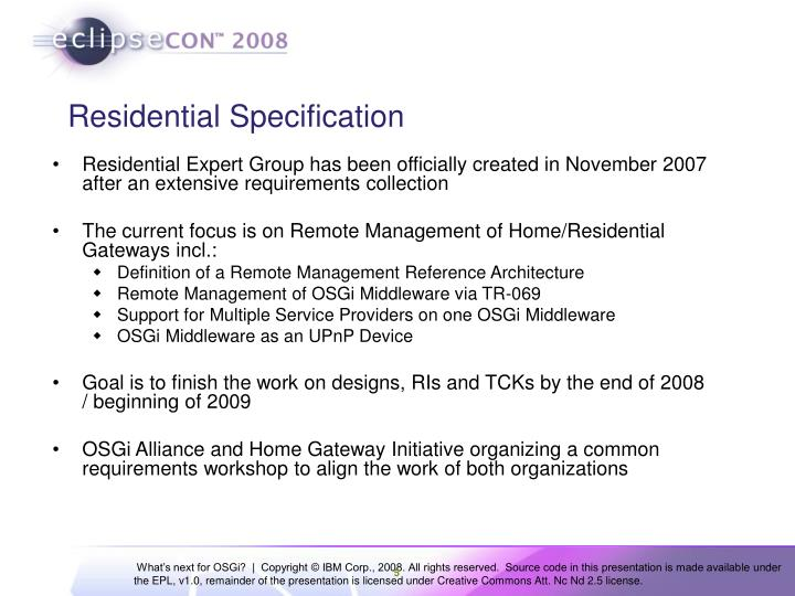 Residential Specification