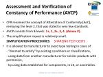 assessment and verification of constancy of performance avcp