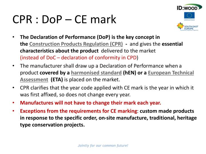 CPR : DoP – CE mark