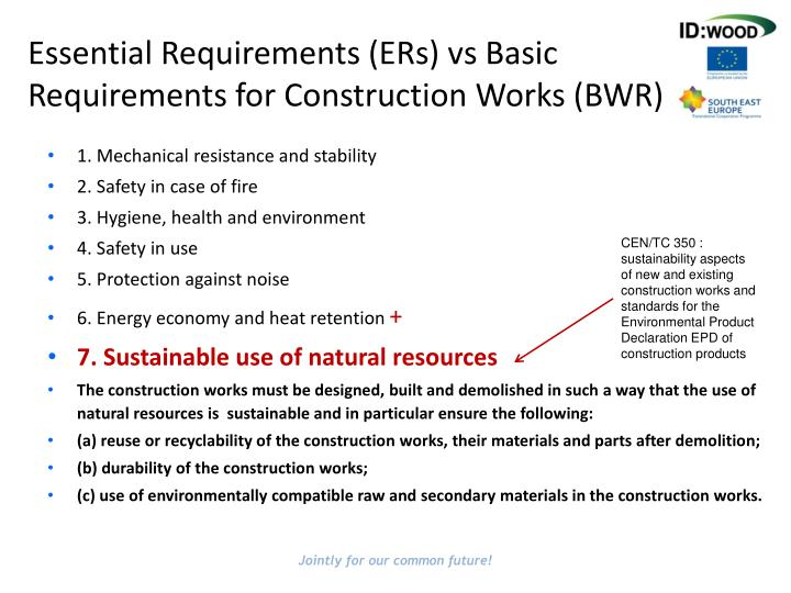 Essential Requirements (ERs) vs Basic Requirements for Construction Works (BWR)