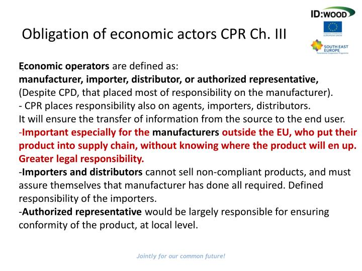 Obligation of economic actors CPR Ch. III