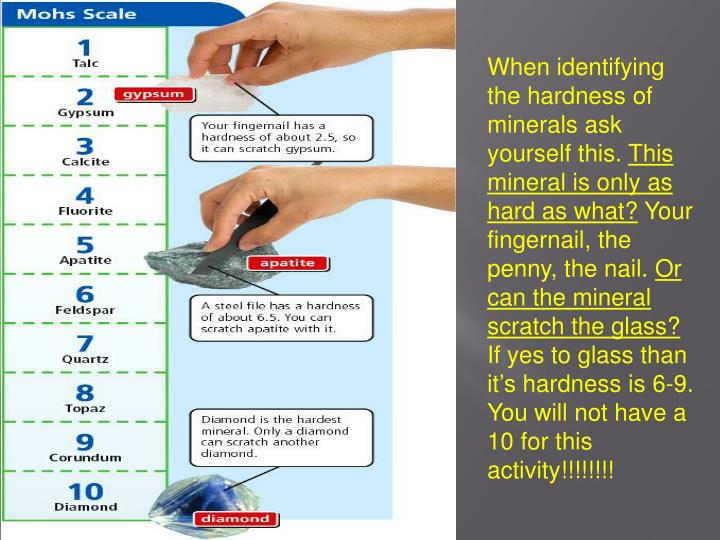 When identifying the hardness of minerals ask yourself this.