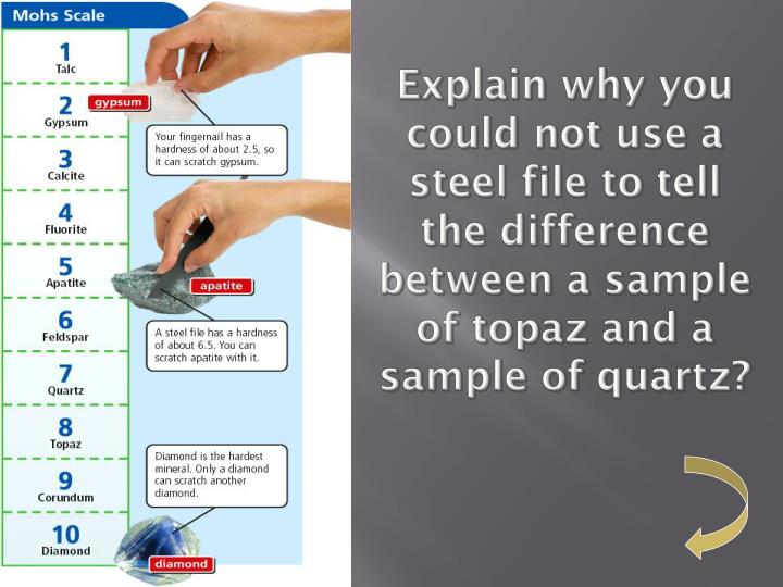 Explain why you could not use a steel file to tell the difference between a sample of topaz and a sample of quartz?