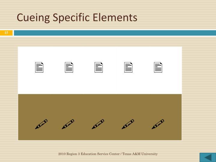 Cueing Specific Elements