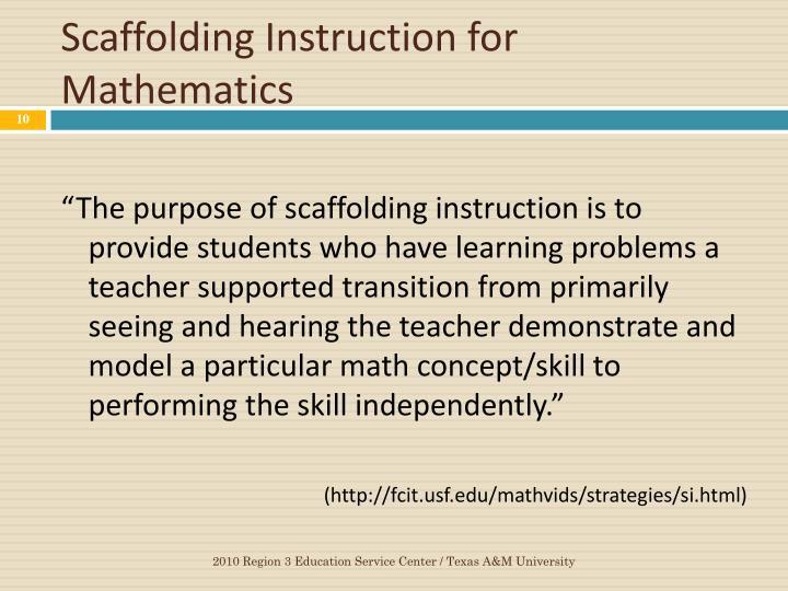 Scaffolding Instruction for Mathematics