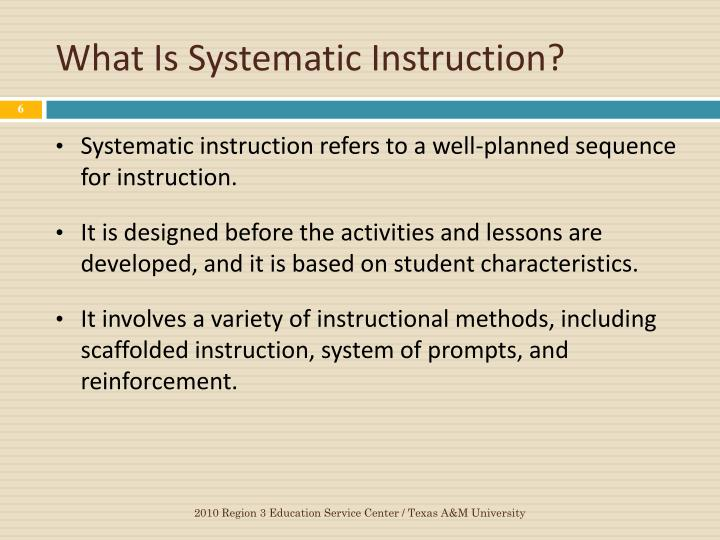 What Is Systematic Instruction?