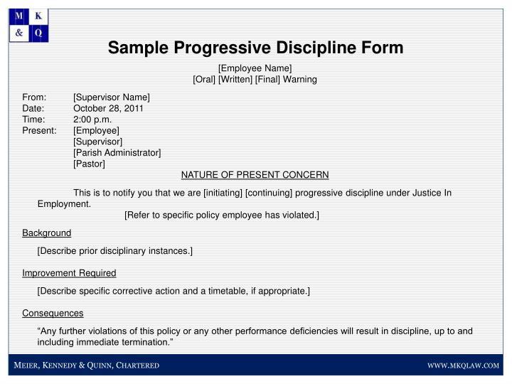 Sample Progressive Discipline Form