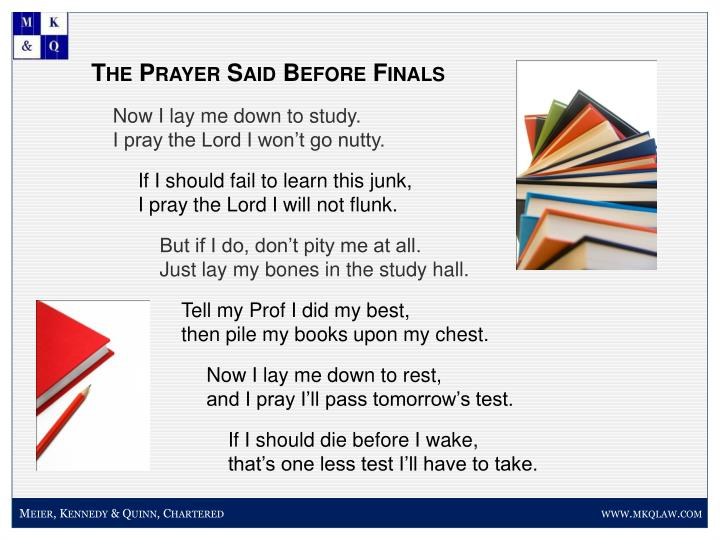 The Prayer Said Before Finals