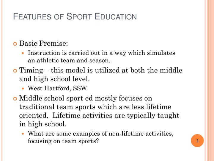Features of Sport
