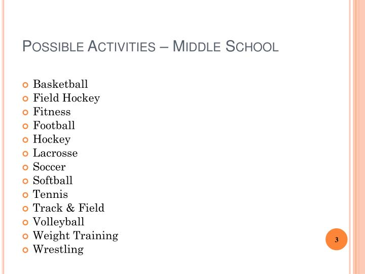 Possible Activities – Middle School