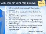 guidelines for using manipulatives