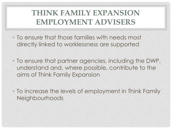 Think Family Expansion Employment Advisers
