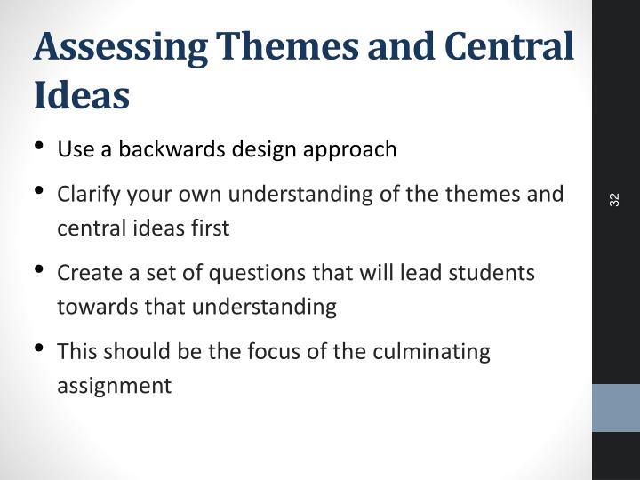 Assessing Themes and Central Ideas