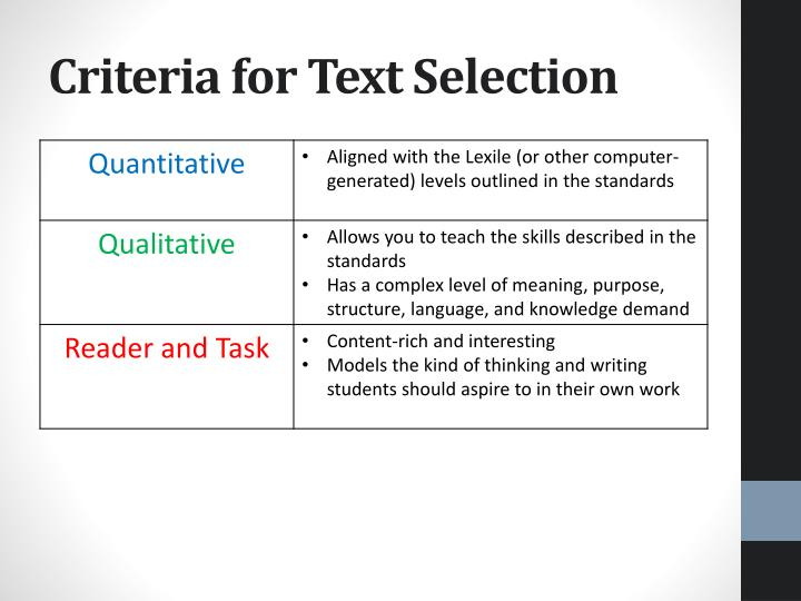 Criteria for Text Selection
