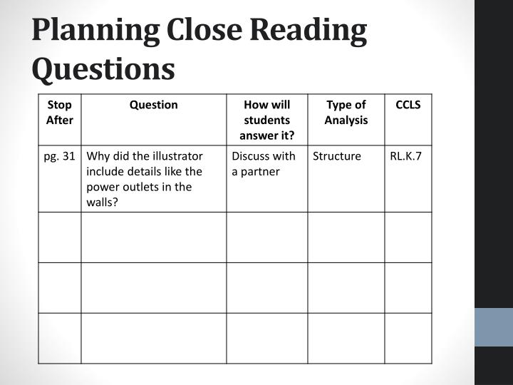 Planning Close Reading Questions
