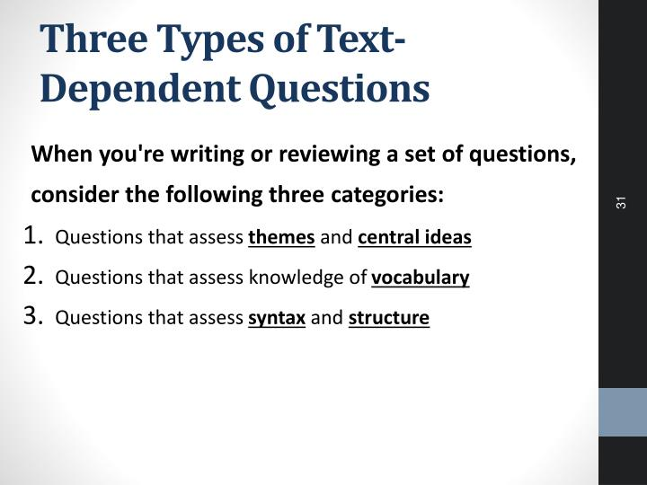 Three Types of Text-Dependent